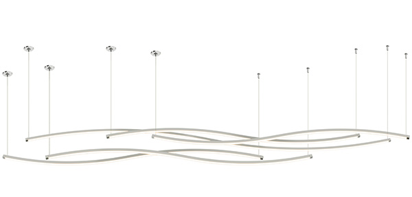 Zip Wave Suspension Downlight with Remote Power - End Feed