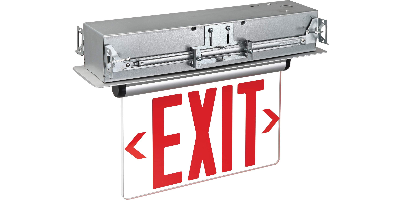 Edge Lit Emergency Exit Double Face Recess Mount