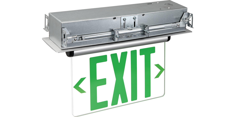 Edge Lit Emergency Exit Single Face Recess Mount