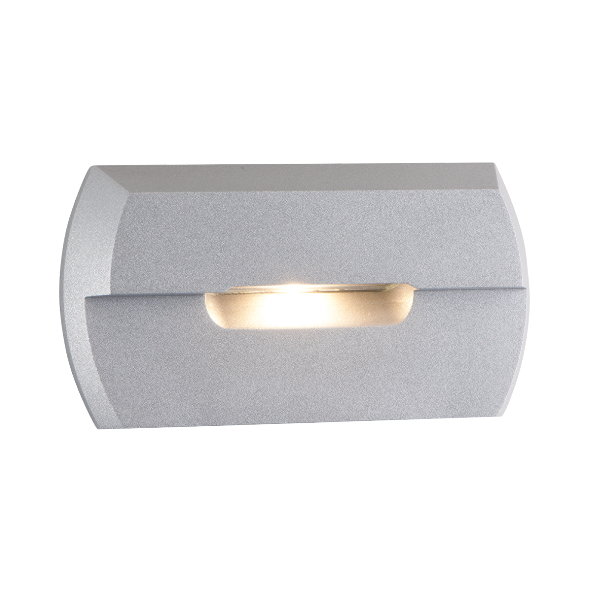 "2-1 - 2"" x 4-3 - 4"" Amber LED Step Light, Silver Metallic Finish"