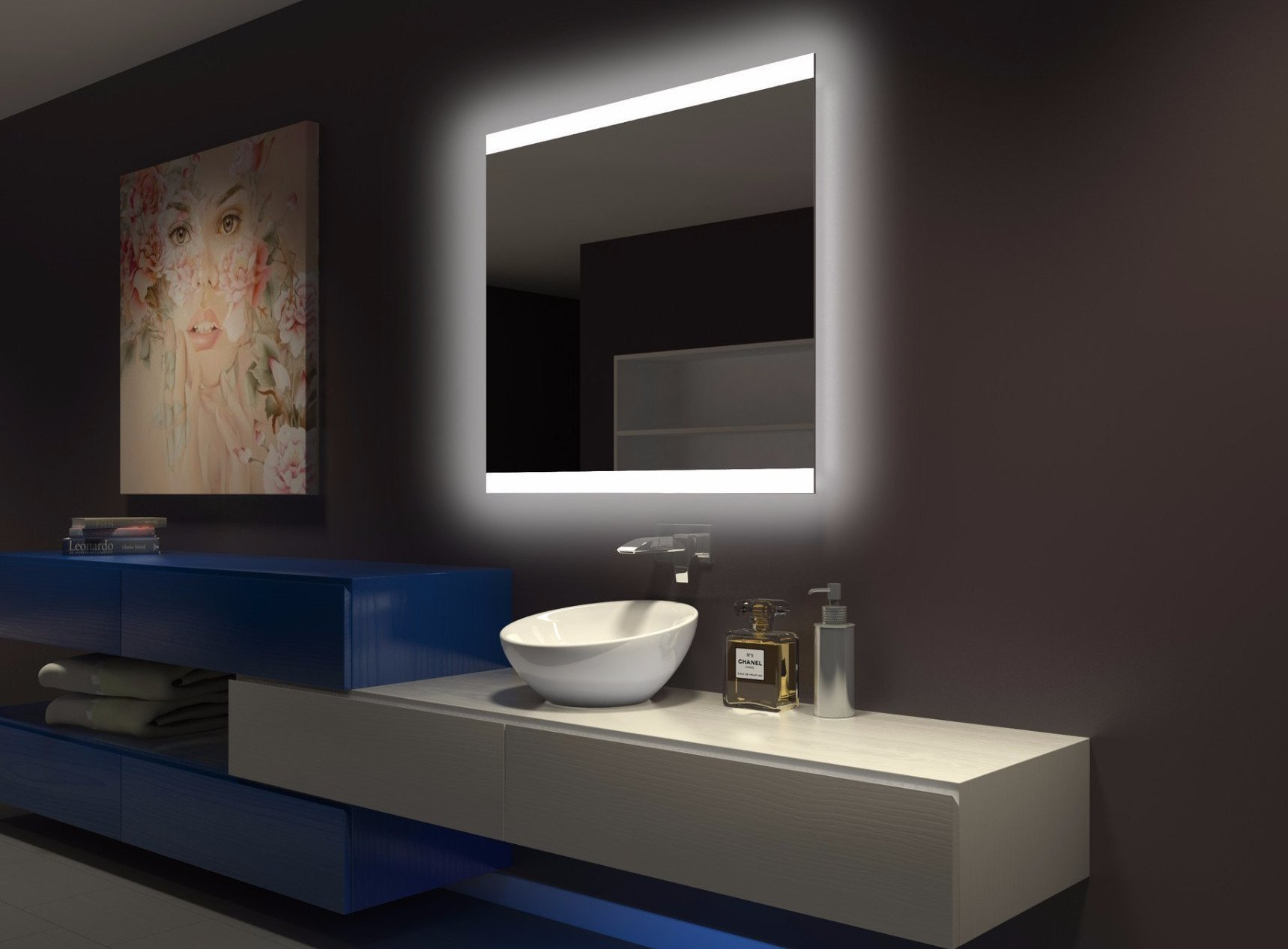 Dimmable Backlit Mirror Paris 40 x 35 x 2 in