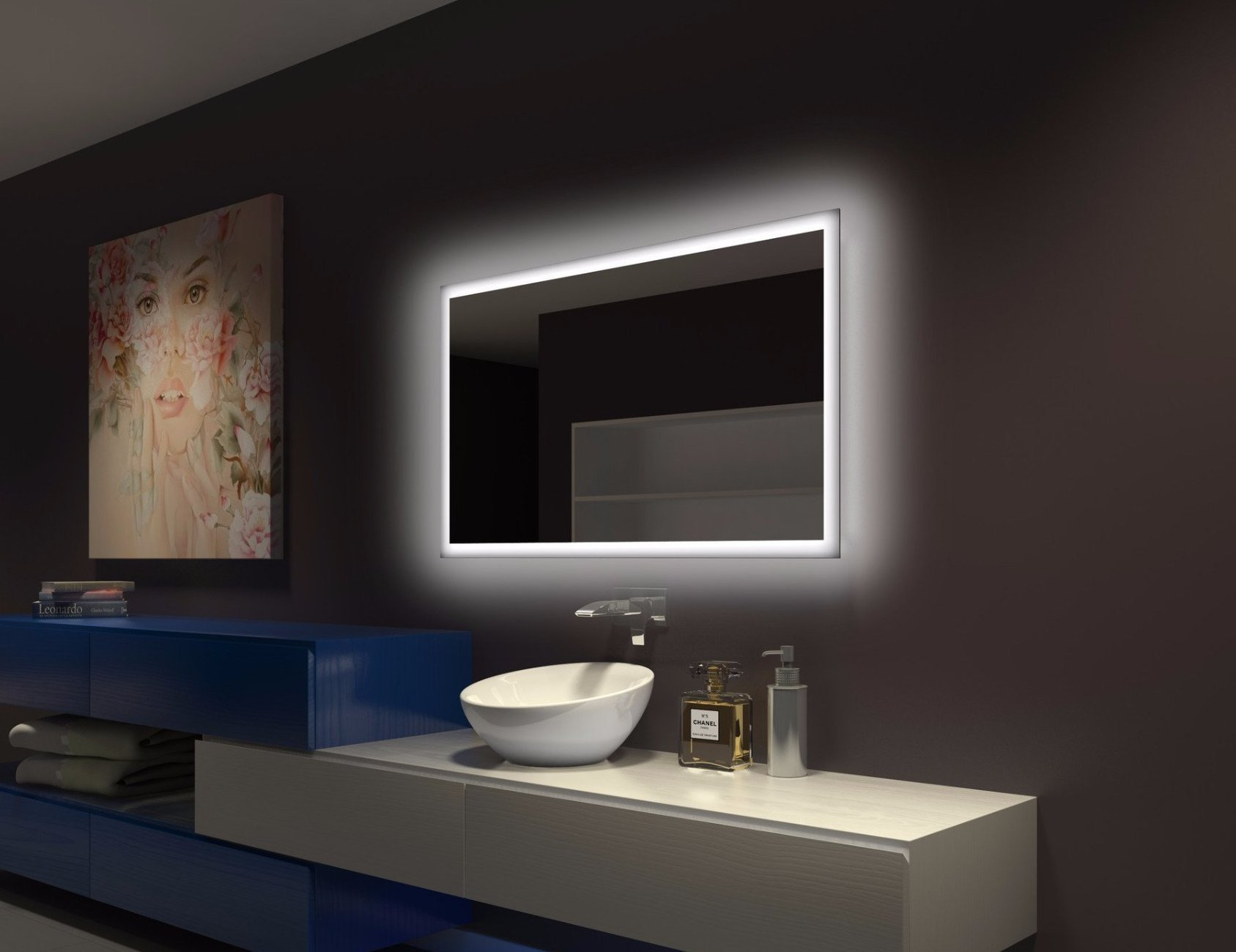 BACKLIT Bathroom MIRROR RECTANGLE 55 X 28 in