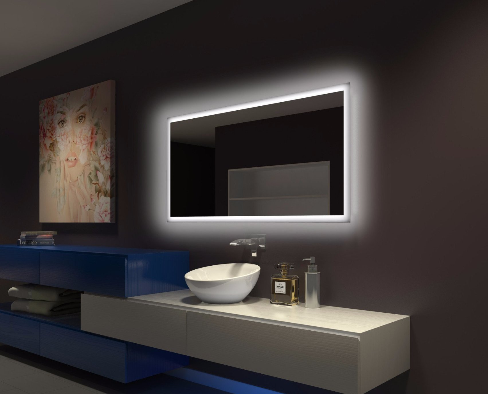 Dimmable Backlit Mirror Rectangle 100 x 45 x 2 in
