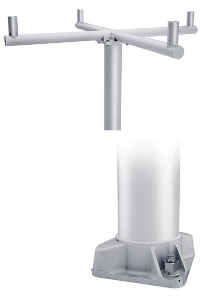 RTA Quad Cross 90 4-Bolt Base Round Tapered Aluminum Pole