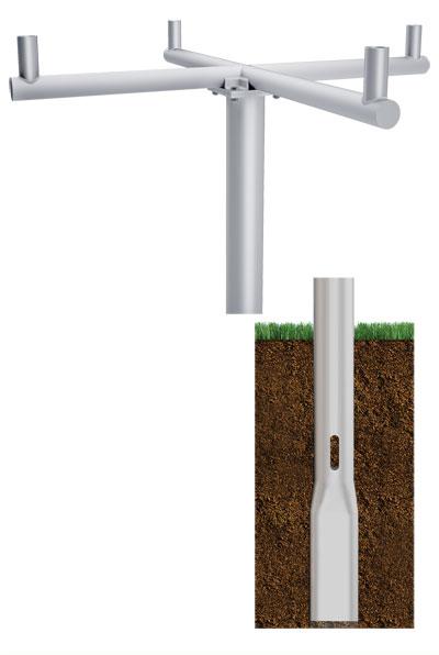 RTA Quad Cross 90 Direct Buried Round Tapered Aluminum Pole