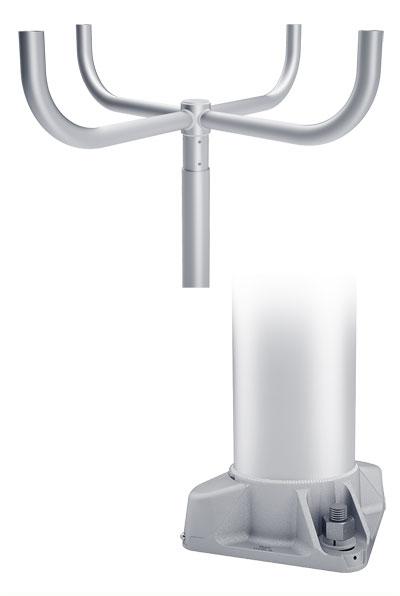 RTA Quad Bullhorn 90 4-Bolt Base Round Tapered Aluminum Pole