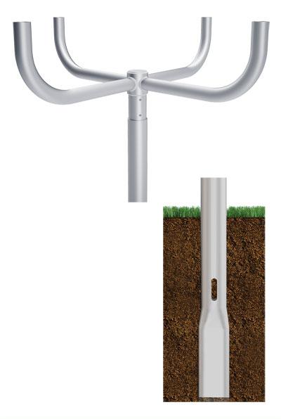 RTA Quad Bullhorn 90 Direct Buried Round Tapered Aluminum Pole